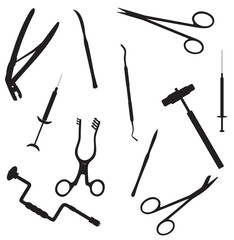 silhouettes of surgical instruments