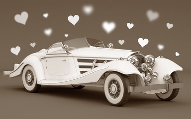 White car with love hearts