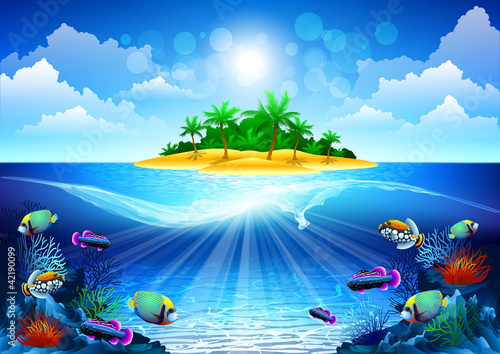 Fototapety, obrazy : tropical island in the ocean with a coral reef