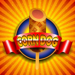 Vector illustration of corn dog