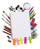 Fototapety school education supplies items