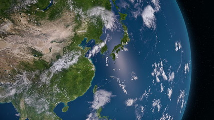 Earth 3d view from space. Asia.