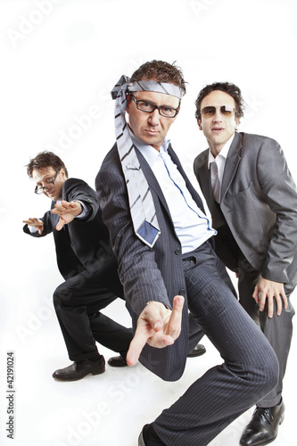 crazy businessmen dancing