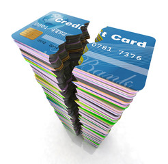 stack of credit cards broken