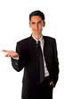 Young businessman is showing hand signs.