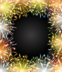 fireworks fire color frame blackboard