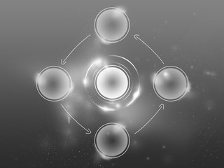 Dark Gray background Nettech,circles diagram to insert icons