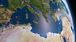 Earth 3d view from space. Mediterranean