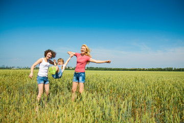 families have fun in the field