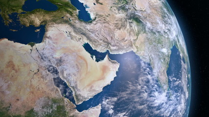 Earth 3d view from space. Middle East, West Asia