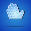 Vector palm with binary code on blue background.