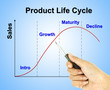a pen pointer product life cycle chart (marketing concept pointe