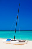 Sailing boats on a deserted beach in Cuba