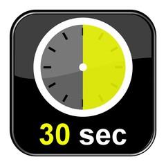 Glossy Button schwarz - Uhr: 30 Sekunden
