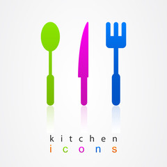 Kitchen collection colored icons.