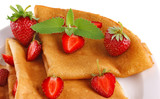 fresh pancake with strawberry
