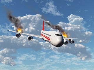 Avión con los motores incendiados