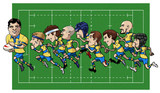 Cartoon rugby team poster