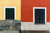 Colorful mediterranean house wall and window