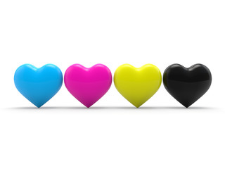 Hearts in cmyk 3d render