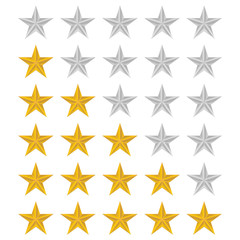 Rating stars set over white background