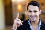 Businessman pointing an idea