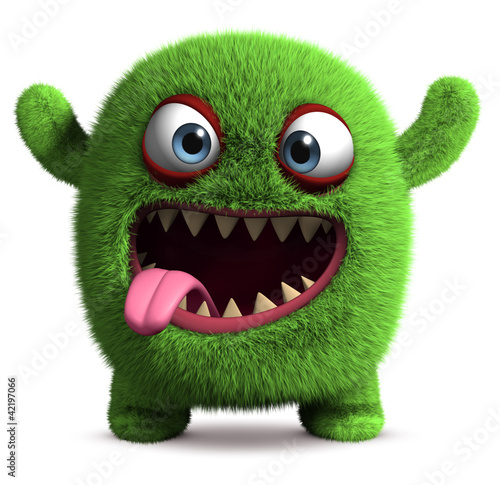 Deurstickers Sweet Monsters cute furry monster