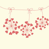 Cute unique floral card with hearts
