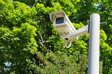 Observation camera on a column against green branches