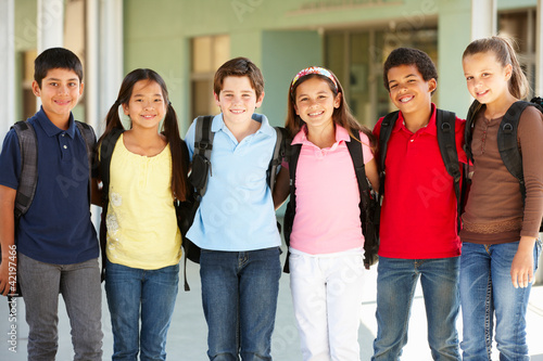 Pre teen children at school