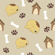 Seamless pattern with dog, dog house, bone