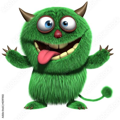 Leinwanddruck Bild cute furry alien