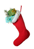 Fototapety Christmas sock with gifts isolated on white
