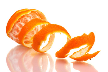 Ripe tasty tangerines with peel  isolated on white
