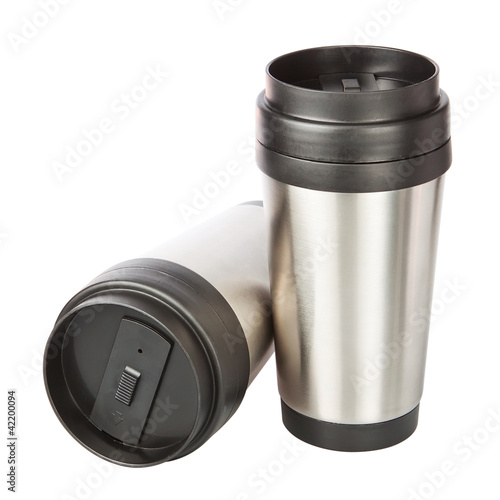 Two travel thermos-cup. Closeup.