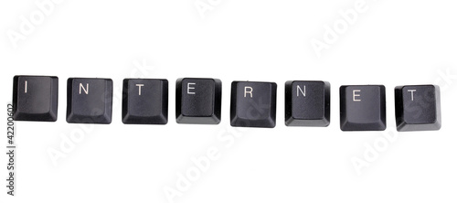 Keyboard keys saying internet isolated on white