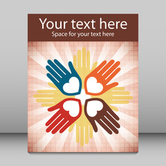 Colorful united loving hands leaflet design.