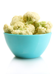 Fresh cauliflower in bright bowl isolated on white