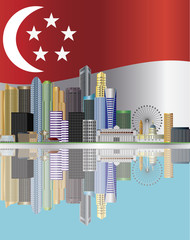 Singapore City Skyline Reflection and Flag Illustration