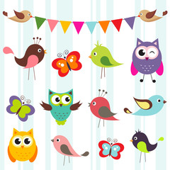 set of cute birds and butterflies