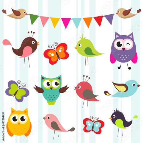 set of cute birds and butterflies