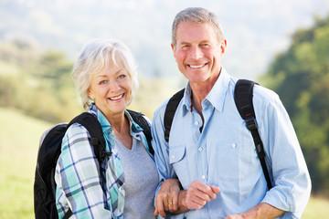 Senior couple on country walk