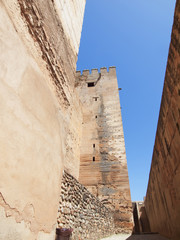 Alcazaba (Military quarter) of the Alhambra in Granada, Spain.