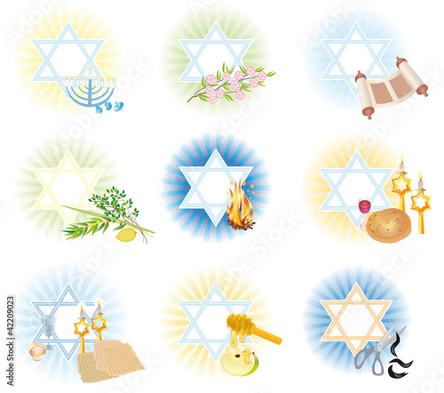 Set is 9 symbols icons of the Jewish holidays