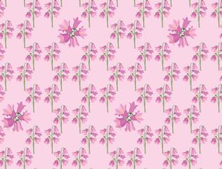бесшовный фон из колокольчиков, полевые цветы, print