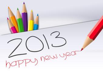 happy new year 2013 crayons
