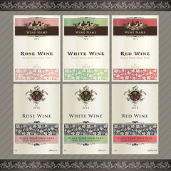 Set of vector wine labels