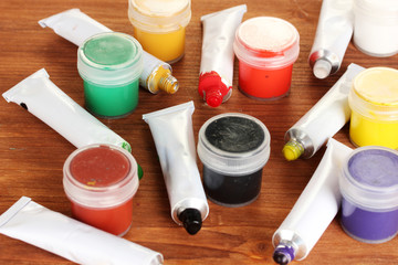 Tubes with colorful watercolors