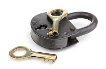 Retro padlock with keys isolated on white