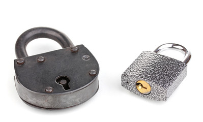 Two different padlocks isolated on white